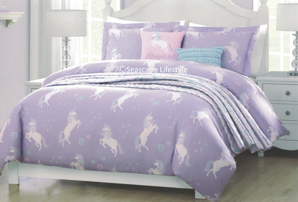 9ffc0d09b880a Magical Unicorns ❤ Twin Comforter Set with Quilted Coverlet ❤ 5-pc