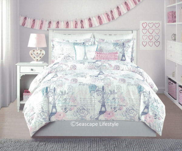 I Love Paris ❤ Full/Queen Comforter Set ❤ 5-pc