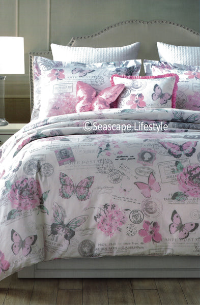 Butterflies in Paris ❤ Full/Queen Comforter Set ❤ 5-pc