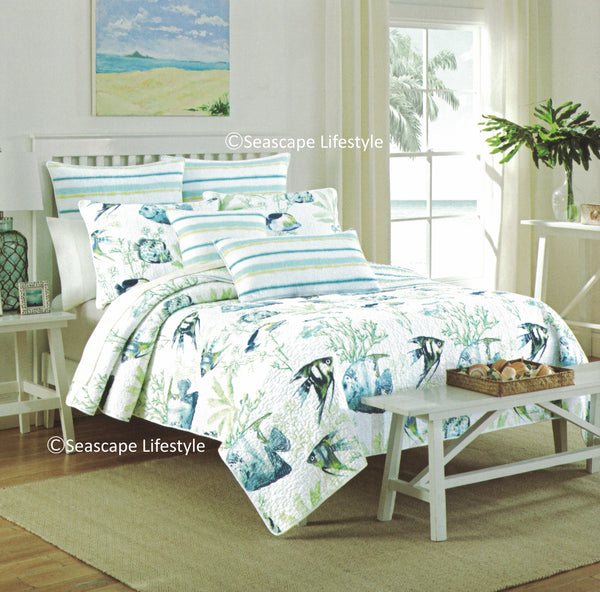 Tropical Fish ☆ Full/Queen Quilt Set ☆ 3-pc
