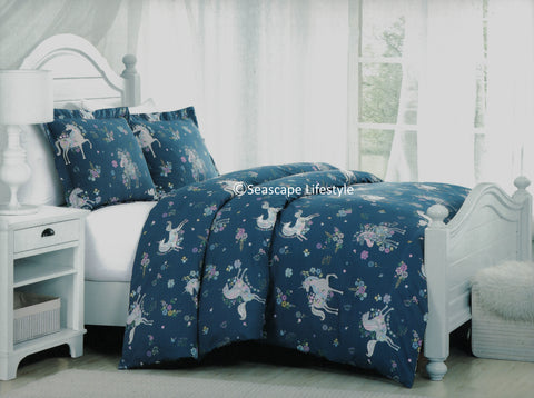 Prancing Unicorns ❤ Full/Queen Comforter Set ❤ 3-pc
