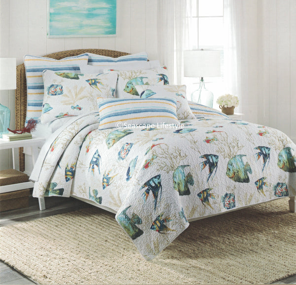 Tropical Marine Life ☆ Twin, Full/Queen, King Quilt Set ☆ Nicole Miller