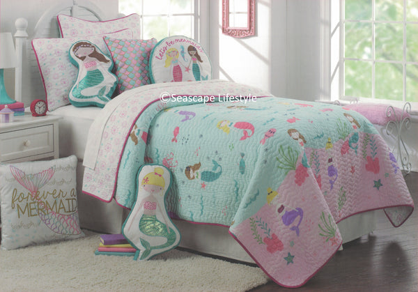 I Love Mermaids ☆ Full/Queen Quilt Set ☆ 3-pc