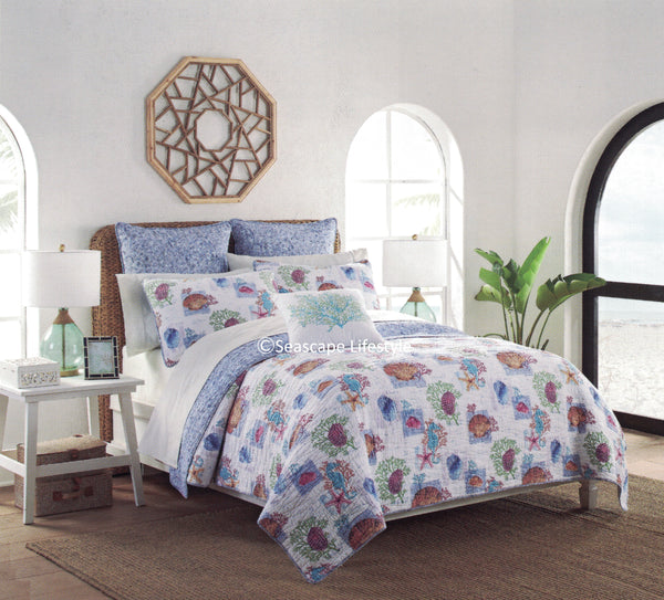 Tropical Seashells ☆ Twin Quilt Set ☆ 3-pc