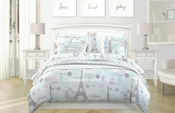 ❤ I LOVE PARIS ❤ Twin Comforter Set with Coverlet ❤ 5-pc
