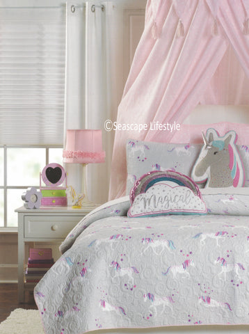 I Love Unicorns ❤ Full/Queen Quilt Set ❤ 3-pc