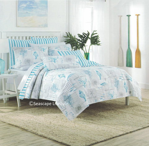 Tropical Beach House ☆ Full/Queen Quilt Set ☆ 3-pc