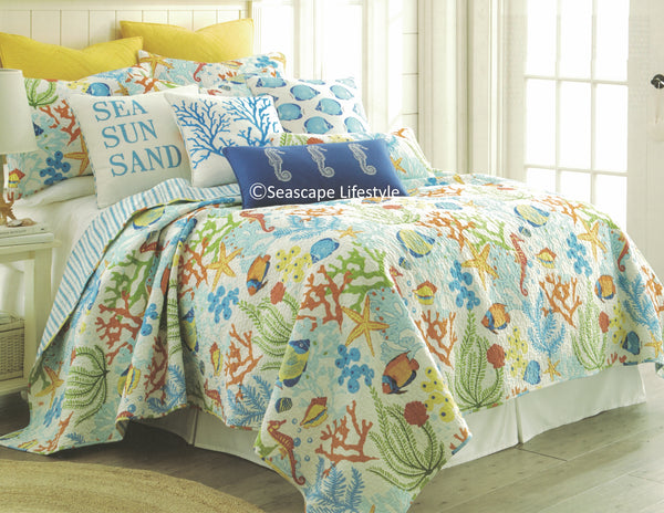 Tropical Caribbean  ☆ Full/Queen Quilt Set ☆ 3-pc