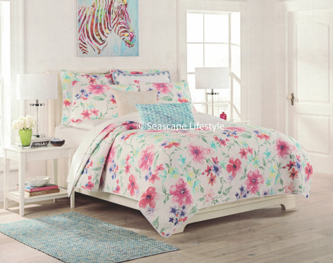 Colorful Floral ☆ King Quilt Set ☆ 3-pc
