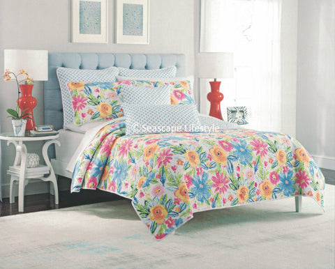 Colorful Floral ☆ Full/Queen Quilt Set ☆ 3-pc