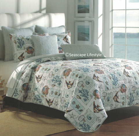Tropical Marine Life ☆ Twin Quilt ☆ 1-pc