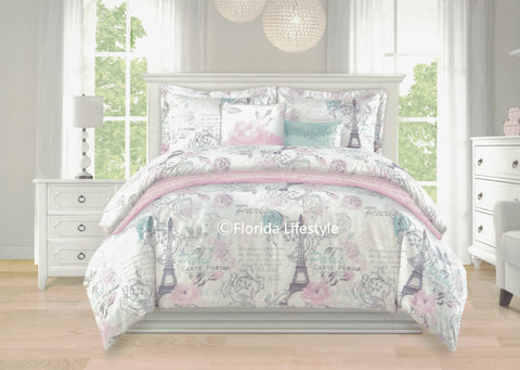 I Love Paris ❤ Full/Queen Comforter Set with Quilted Coverlet ❤ 6-pc