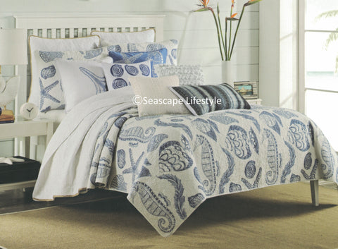 Porcelain Blue Tropical ☆ King Quilt Set ☆ 4-pc