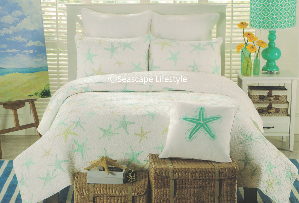Tropical Starfish ☆ King Quilt ☆ 3 Pc Seascape Lifestyle