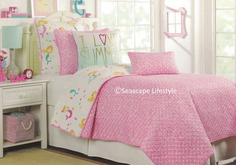 Kid Fun Mermaids ☆ Twin Quilt Set with Pillows ☆ 4-pc