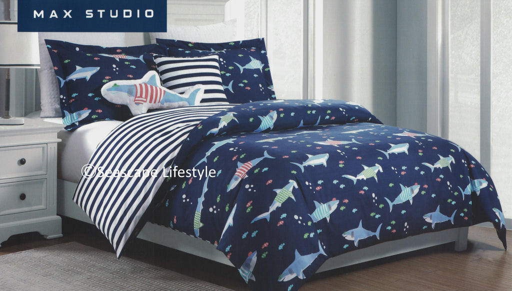 Awesome Sharks ☆ Full Queen Comforter Set ☆ 5 Pc