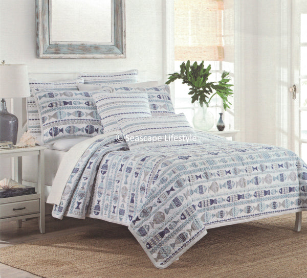 Tropical Fish ☆ King Quilt ☆ Set 3-pc