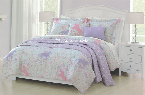 Paisley Unicorns ❤ Full/Queen Comforter Set with Quilted Coverlet ❤ 6-pc