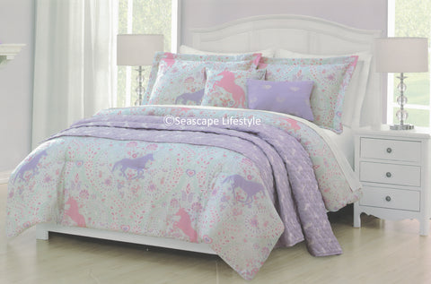Paisley Unicorns ❤ Twin Comforter Set with Quilted Coverlet ❤ 5-pc