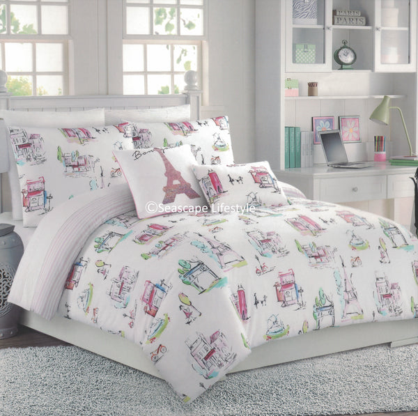Scenes from Paris ❤ Full/Queen Comforter Set ❤ 5-pc