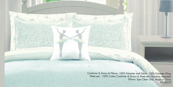 Ballerina Dancers ❤ Full Comforter + Sheet Set ❤ 8-pc