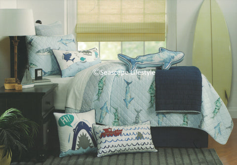 Awesome Sharks ☆ Full/Queen Quilt Set ☆ 6-pc