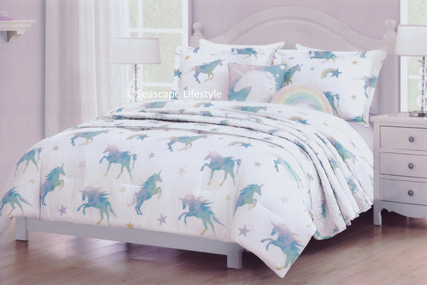 Rainbow Unicorns ❤ Twin Comforter & Coverlet Set ❤ 5-pc