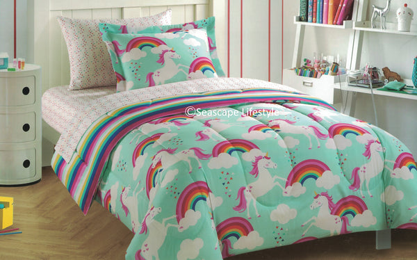 I Love Rainbow Unicorns ❤ Twin Comforter & Sheet Set ❤ 5-pc