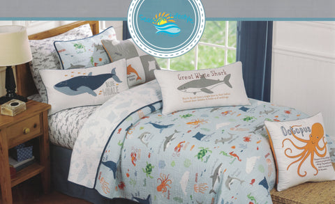 Sea Critters ☆ Full/Queen Quilt Set ☆ 3-pc