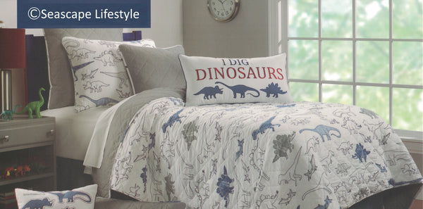 I Love Dinosaurs ☆ Full/Queen Quilt Set ☆ 5-pc