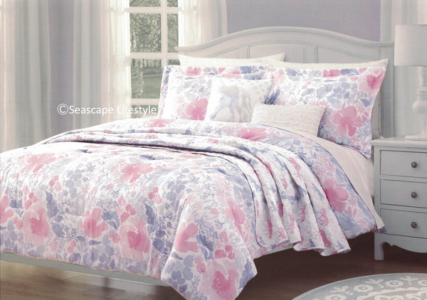 Floral Unicorns ❤ Twin Comforter Set with Quilted Coverlet ❤ 5-pc