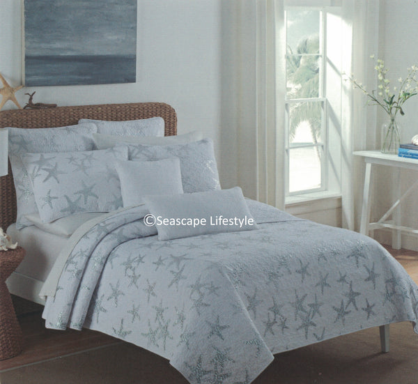 Tropical Silver Starfish ☆ Twin Quilt Set + Sheets ☆ 5-pc