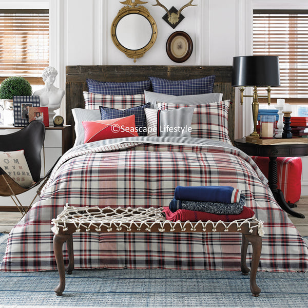 Vintage American Plaid ☆ Full/Queen Quilt Set ☆ 3-pc