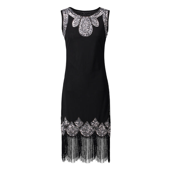 f7b866d2 1920s Flapper Gatsby Gala Fringe Embellished Sequin Beaded Party Dress