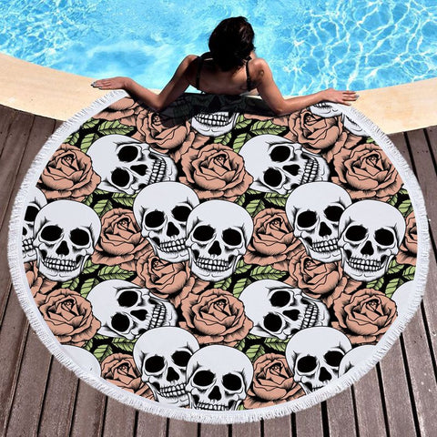 Round Skull Tapestry Beach Towel
