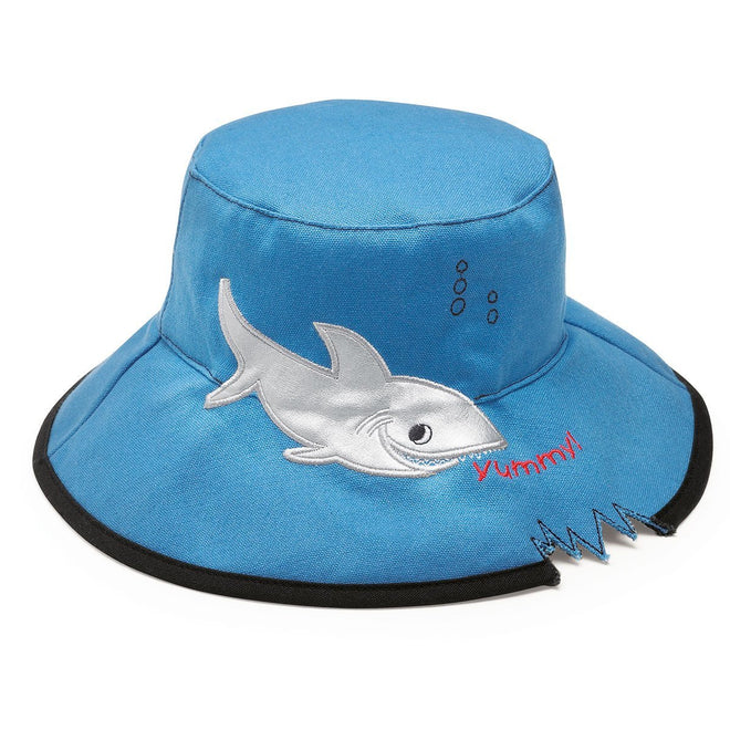 The kids beach hat - shark, is a cool kids bucket hat designed with a small shark bite.