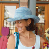 This sun hat, light blue, is stylish for summer and comes in several other colors.