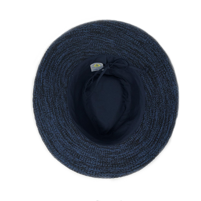 This mixed navy or tan fedora hat can be adjusted to fit your head better.