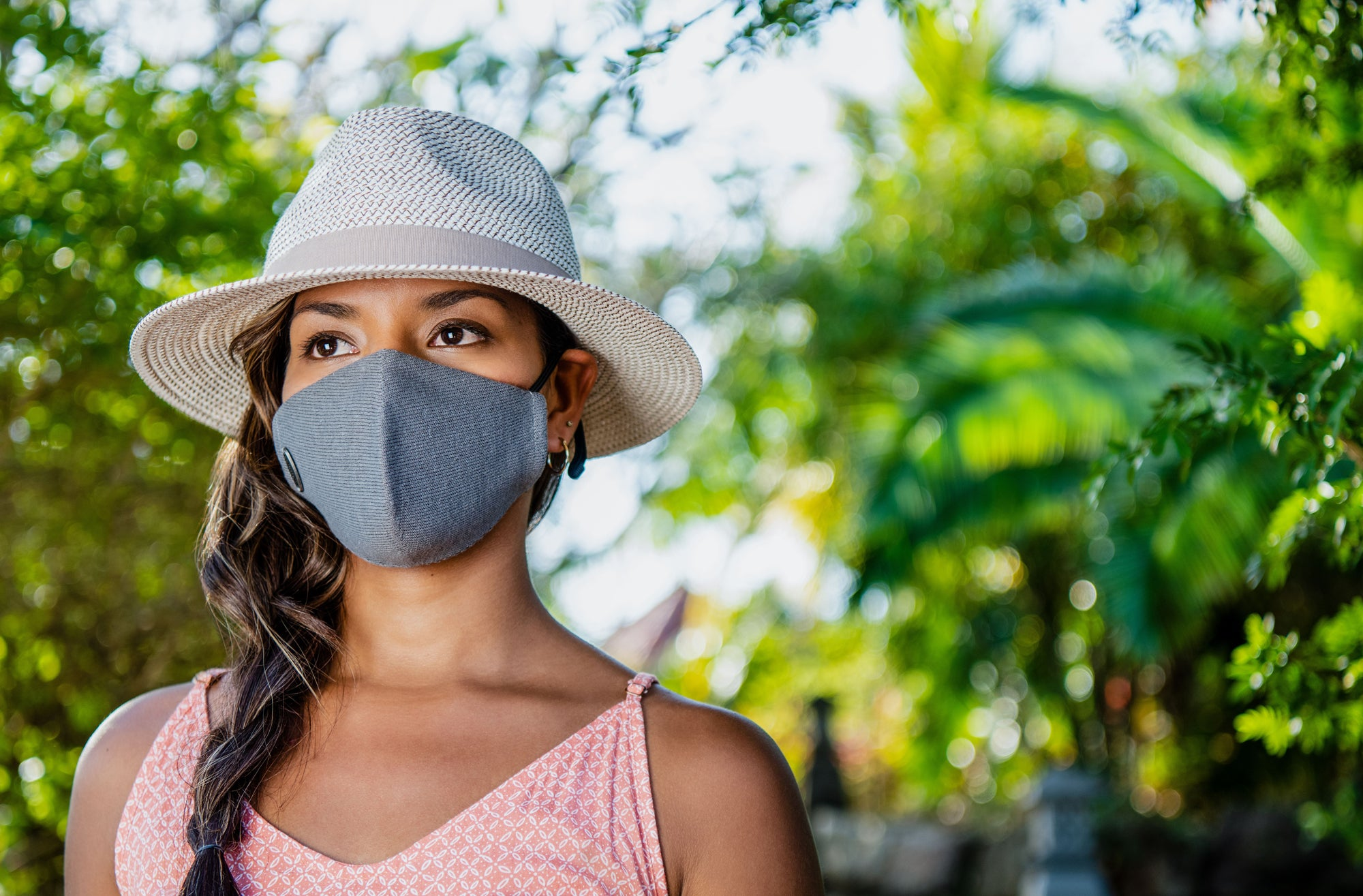 Lifestyle image of someone wearing the Face Mask.