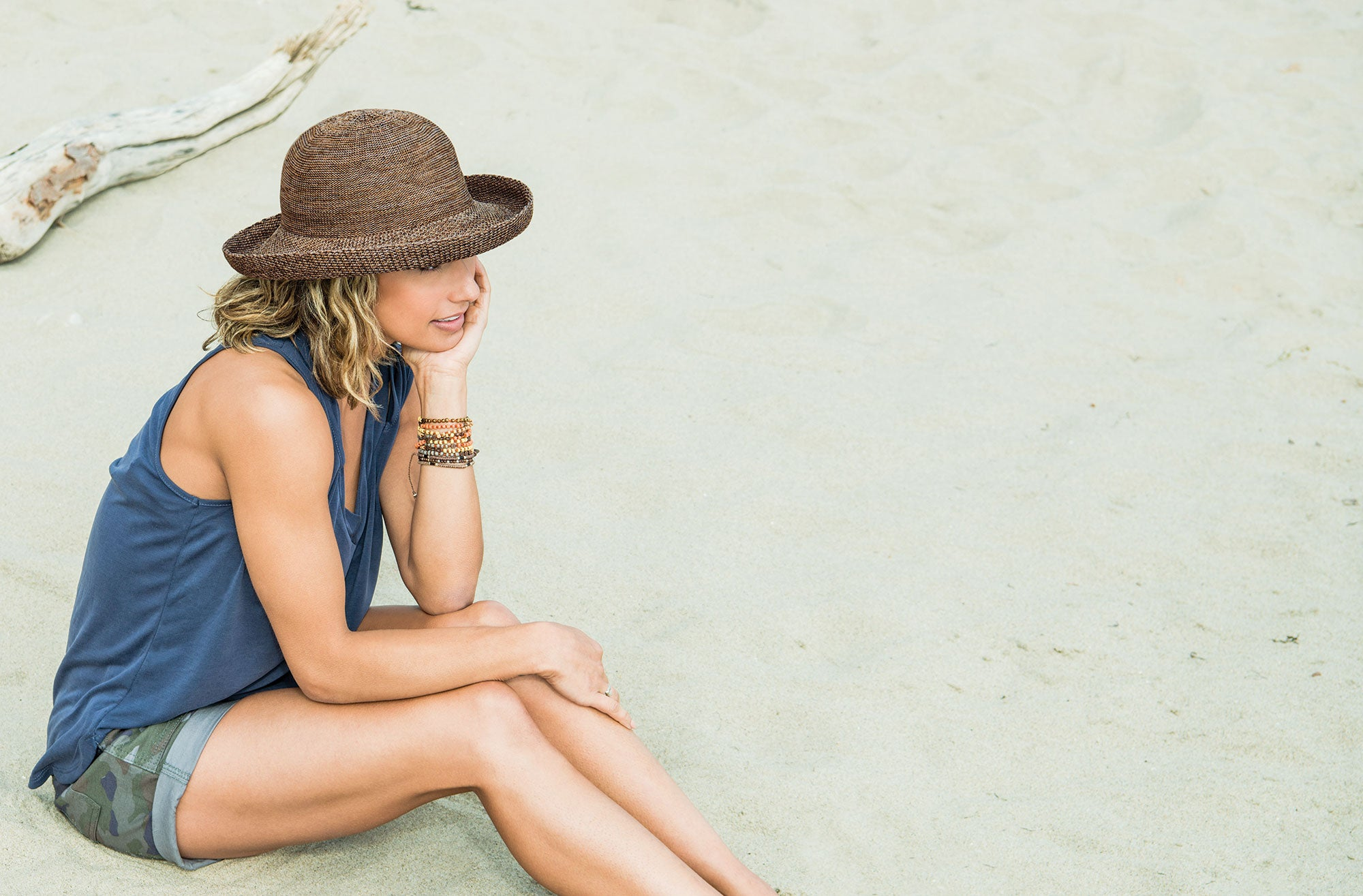 Lifestyle image of someone wearing the Petite Victoria.