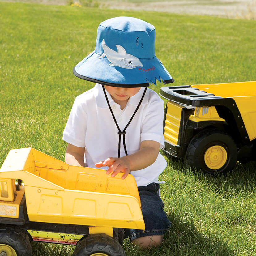 Lifestyle image of someone wearing the Shark Hat.