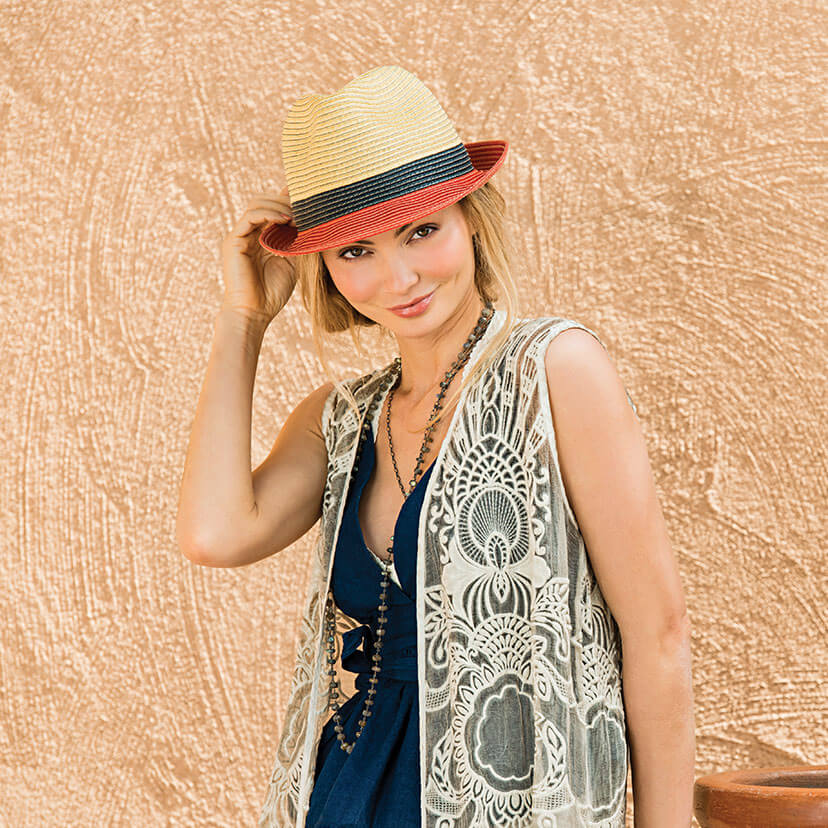 Lifestyle image of someone wearing the St. Tropez Trilby.