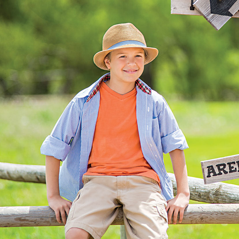 Lifestyle image of someone wearing the Trilogy Trilby - Children's.