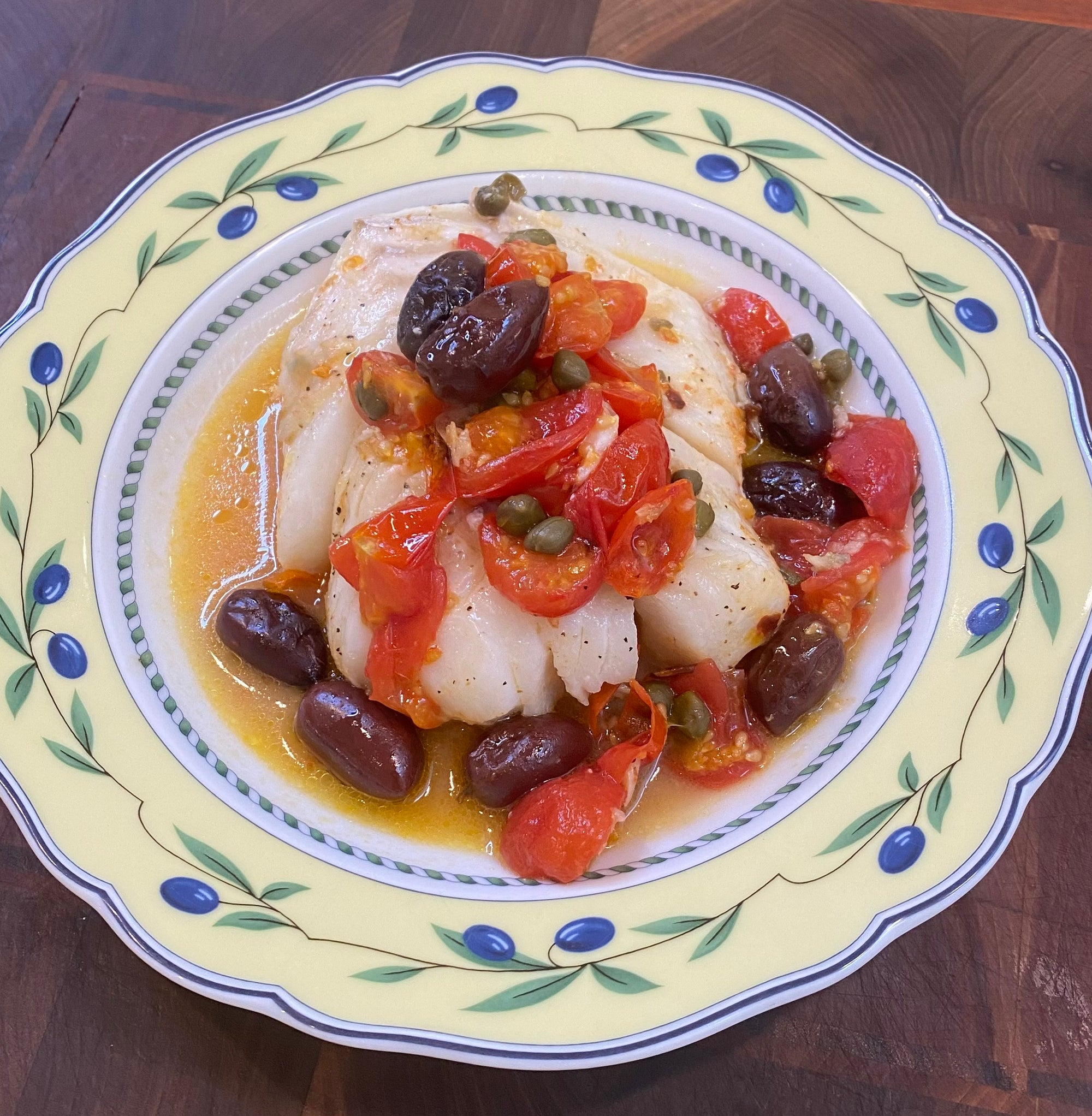 Baked Cod with Tomatoes, Capers, Olives and White Wine