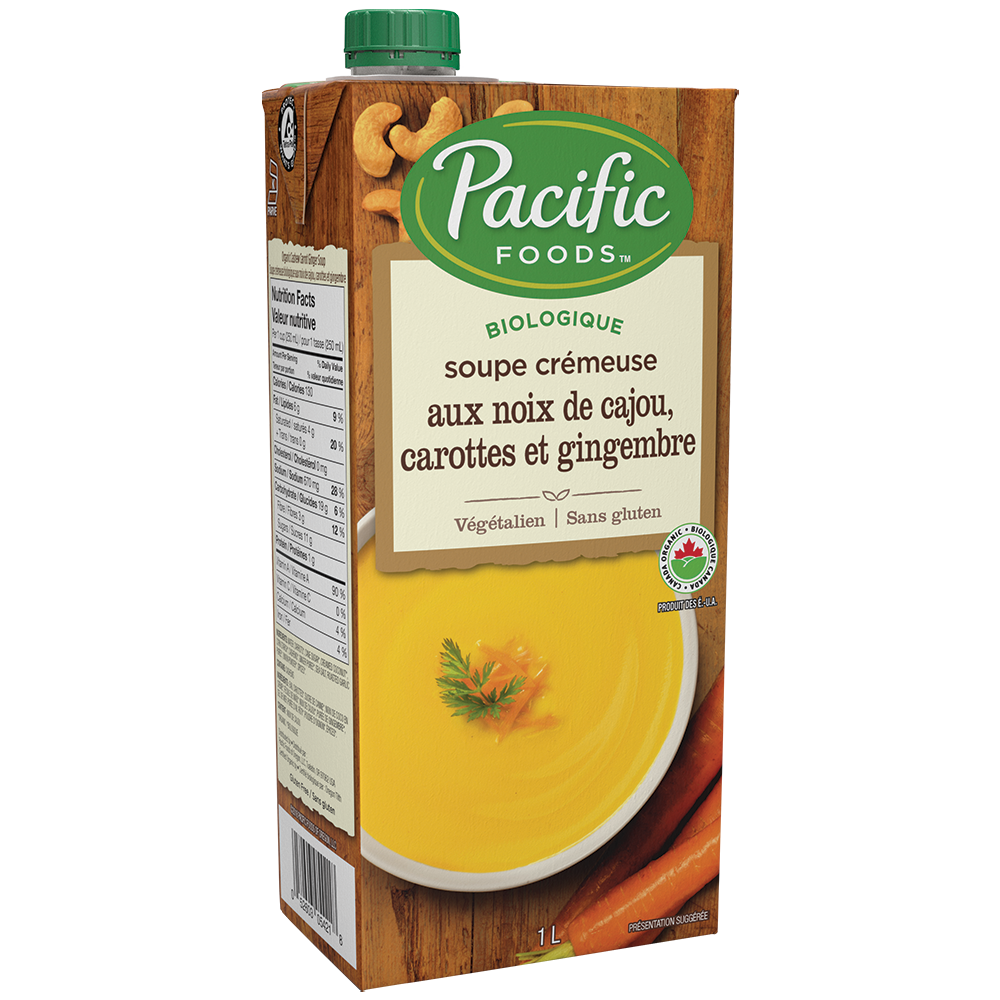 Creamy Cashew Carrot Ginger Soup by Pacific Foods, 1L, Organic