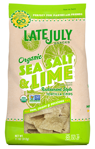 Organic Sea Salt & Lime Restaurant Style Tortilla Chips by LATE JULY 312g