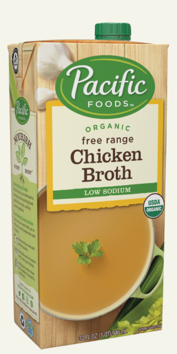 Organic Free Range Chicken Broth, Low Sodium by Pacific Foods, 946 ml