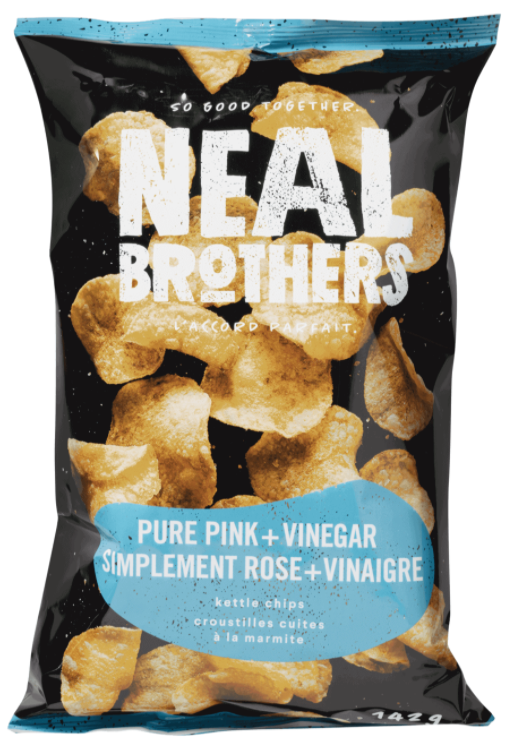 Pure Pink and Vinegar Kettle Chips by NEAL Brothers 142g