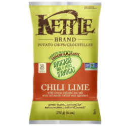 Avocado Oil Chili Lime Potato Chips by Kettle Brand 170g