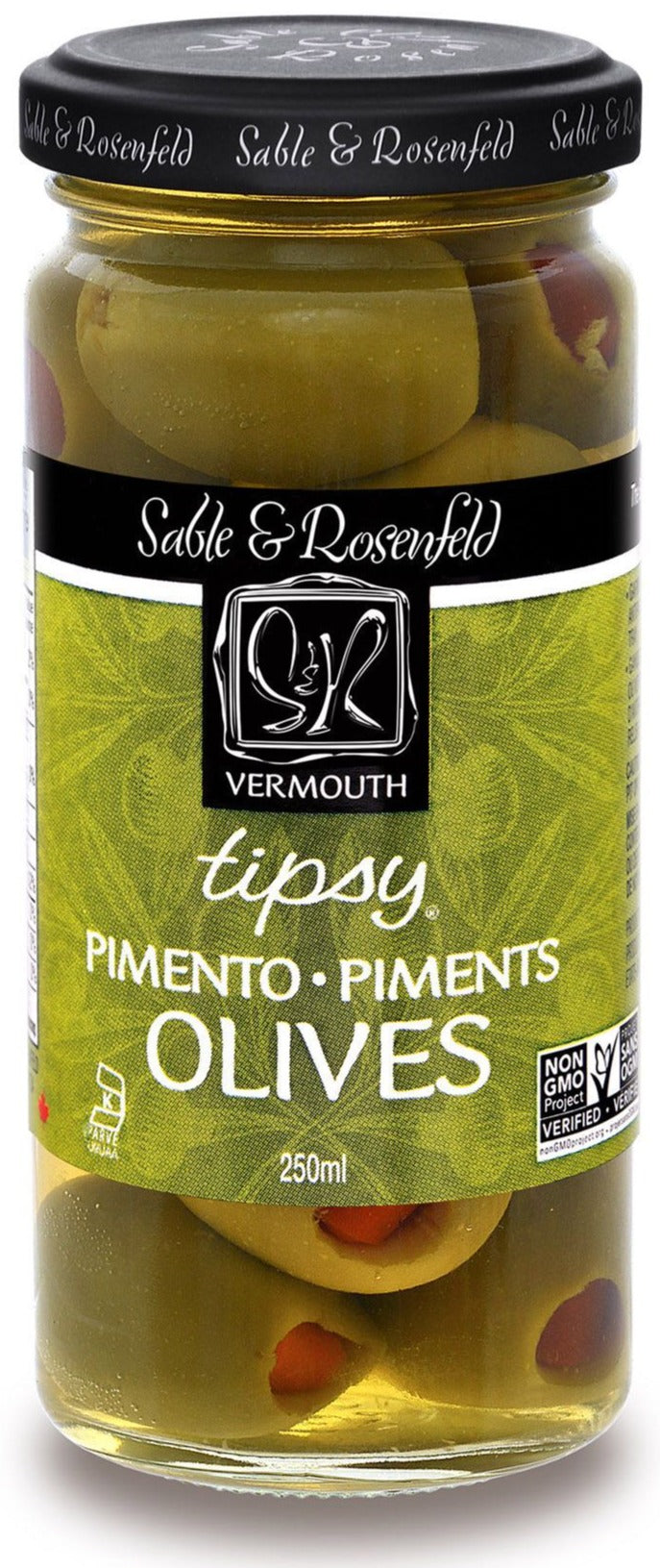 Tipsy Vermouth Pimento Olives by Sable & Rosenfeld 250ml